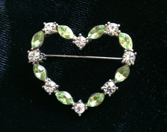 Vintage Peridot Rhinestones Brooch,  Heart Shape Green and White Brooch, Rhinestone Pin, Green accessories, Valentine's Gift