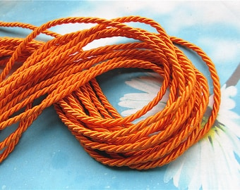 high quality 10 yards 3mm orange twist silk cords/rope cords