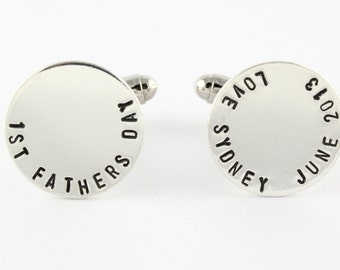 First Father's Day Cufflinks - Personalized Cufflinks - Sterling Silver Cuff Links - Gift for Dad - Father's Day Gift - Customized Cufflinks