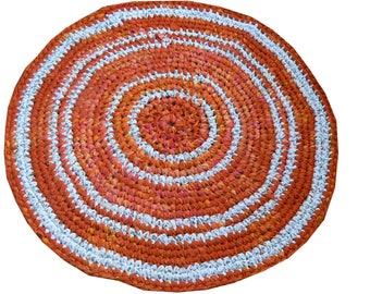 Bohemian Gypsy, Fabrics Round Rug, Crochet Round Mat Bathroom Eco friendly NEON colors, YOGA MAT, Mandala