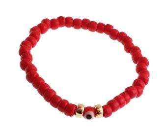 Evil Eye Bracelet/Black Evil Eye/ Men/Turkish Evil Eye/ For Him/ For her/ Brass Beads/ Elastic Bracelet
