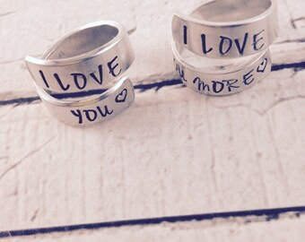 Personalized hand stamped, I love you and I love you more wrapped rings