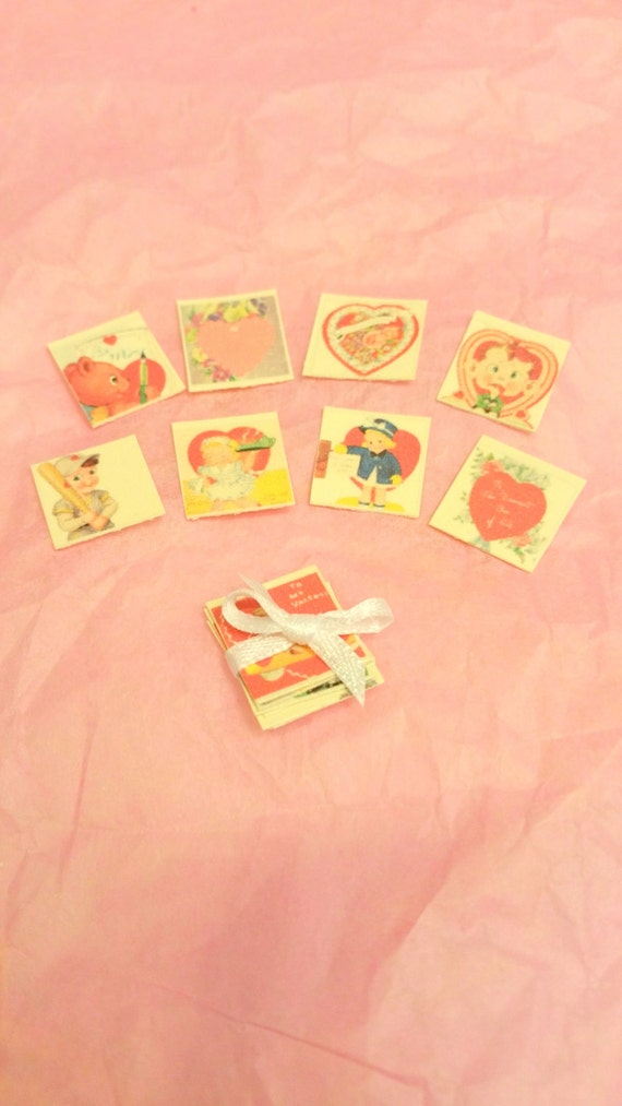 Miniature Vintage Valentine's Day Cards (1:12 scale) Free Shipping
