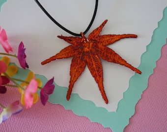 Copper Maple Leaf, Real Leaf, Japanese Maple Leaf, Copper Maple, Real Maple Leaf Necklace, LL75