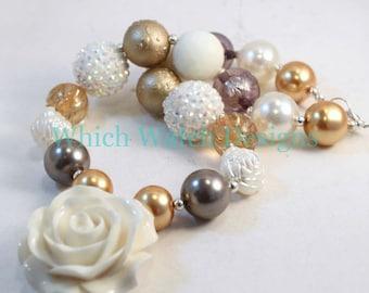 Fancy Girl.. Elegant White, Cream, Gold and Taupe Toddler Bubblegum Necklace, Resin Rose Pendant