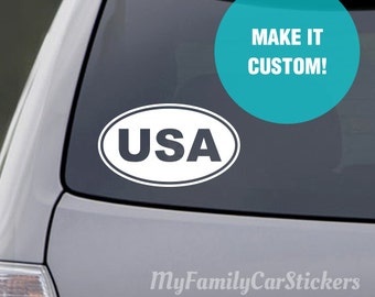 Custom Oval Decal,  Custom Oval Sticker, Oval bumper sticker, US State Oval Stickers, Country Oval Sticker