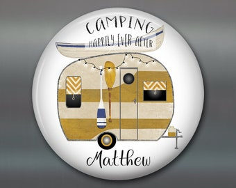 Happily ever after sign fridge magnet happy camper decor - personalized camping gifts for her - trailer decorations camper sign - MA-PERS-5
