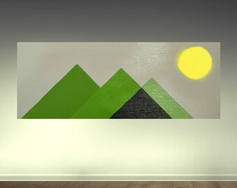 Geometric Abstract Painting acrylic Painting on wood panel modern Art original handmade home decor wall art WOOD SCULPTURE PAINTING art