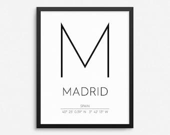 50% OFF Madrid Spain Print, Madrid Poster, Madrid Coordinates Printable, Madrid Wall Art, Madrid Decor, Travel Poster