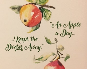 Apple Print Note Cards
