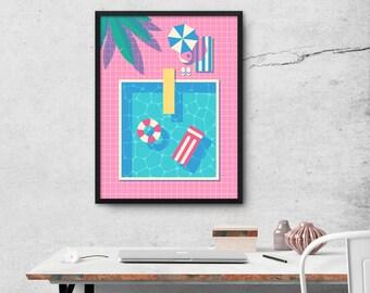 Retro 80s Swimming Pool Poster Art Print Wall Art