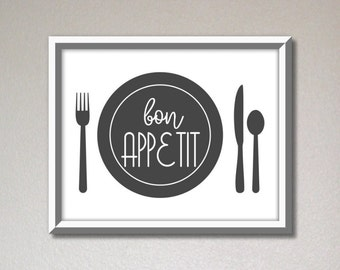 Bon appetit sign, dining room wall decor, kitchen wall art, kitchen signs, home decoration printable, restaurant wall art, digital download