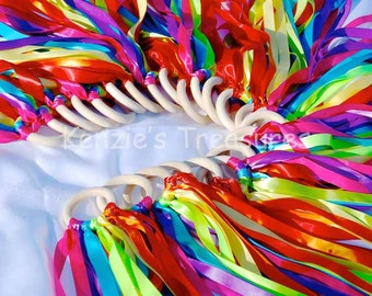 Party Packs of Rainbow Ribbon Hand Kites - Made With 7 Different Colors of Ribbons