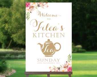 Welcome to Kitchen Tea Sign | Bridal Tea | High Tea Poster | Vintage | Antique Gold Script | Floral Options | PDF and JPG Files