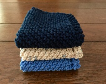 Old Fashioned Cotton KNITTED WASH CLOTHs - 3pk - Cotton Simple