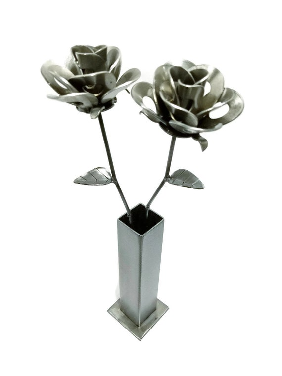 Two Metal Steel Forever Roses and Vase created by Welding Scrap Metal Steampunk Style making Unique Gifts and Modern Rustic Home Decor!