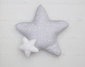 Grey Star pillow.baby pillow.  Star cushion. kids pillow. baby shower gift. newborn gift. personalized pillow nursery decor. kids room