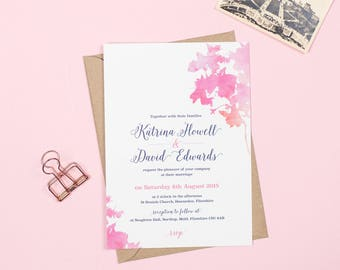 Pink and Navy watercolour Blossom wedding invitations