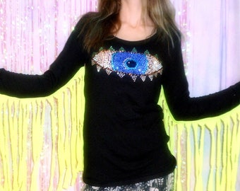 Colorful Sequin THIRD EYE Long Sleeve Top in Black with Neon Fringe -  Made To Order - Sizes Extra Small, Small, Medium, Large, Extra Large