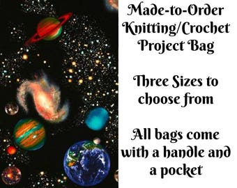 Solar System, Knitting Project Bag, Large Project Bag, Drawstring, Zippered, Sock Sack, Yarn Tote, Sock Project