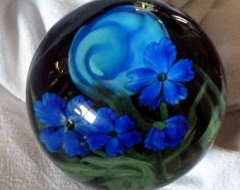 VINTAGE - Lundberg Studios - Justin Lundberg Blue Moon Art Glass Paperweight and Stand - Huge Price Reduction!