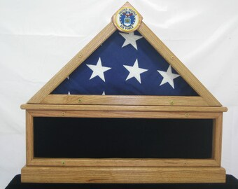 Military Flag Case for Flag Memorys display. Lower portion can displays  photo, or  metals. Hand Crafted. Made  in USA.