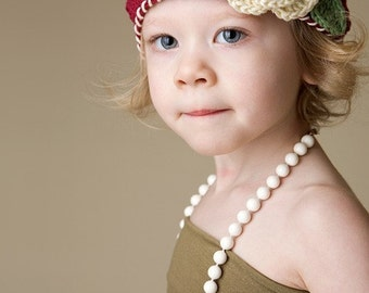 """Beanie Hat Crocheted """"The Brianna"""" Burgundy Ivory Sage Trim Crocheted Flower Accent leaves"""