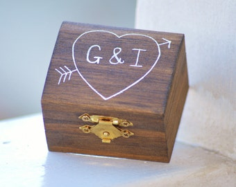 wooden engagement ring box, barn wedding ring box, will you marry me?