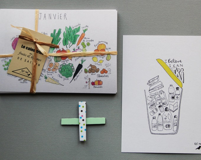 The Green Combo: schedule of fruits and vegetables + map illustrated guide to the sorting - decorative kitchen + 4 magnets
