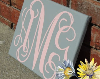 Monogrammed Canvas, Personalized wall decor, Painted Canvas, Nursery Decor, Nursery accessory
