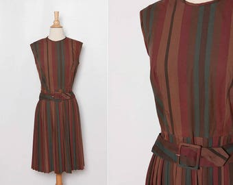 vintage 1960s striped dress with belt | 60s rust color frock