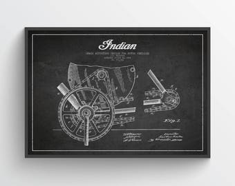 1902 Indian Motorcycle Patent Wall Art Poster, Indian Poster, Indian Print, Home Decor, Gift Idea, TRBM08P
