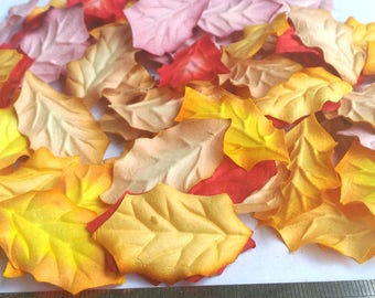 50 X   Christmas Leaves  Mulberry Paper Red- Yellow- Pink  Color 3 Tone  Size 1.5 inch (40 mm) Scrapbooking Embellishment