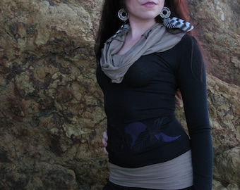 Cowl Hoodie with Moon phases appliqué Organic Bamboo Jersey