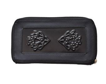 Black big vegan wallet for women / vegan black purse / vegan accessories / vegan coin purse for women / vegan bags / medusa vegan bags