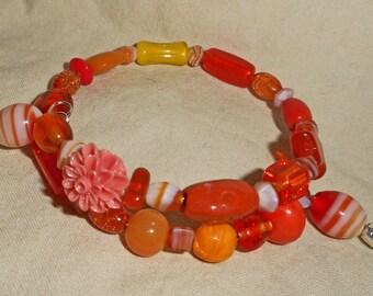 Beautiful Orange Beaded Memory Wire Bracelet  (I 581)