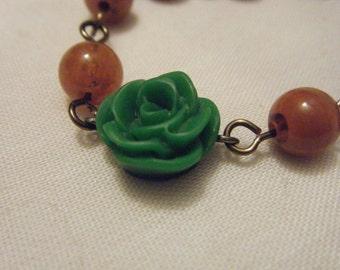 Green Orange Beaded Leaf Flower Bracelet