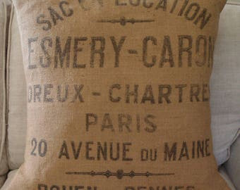 PARIS Burlap Pillow Cover made from authentic Vintage French Grain Sack