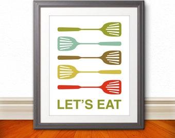Spatula Print Poster, Mid Century Art, Quote Print, Kitchen Art, Kitchen Sign, Retro - Spatula Lets Eat Kitchen Print