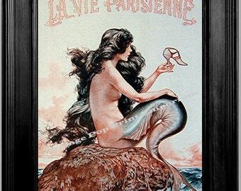 Paris Mermaid - Art Print 8 x 10 - Parisienne Nautical
