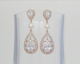 Rose Gold Bridal Stud Earrings, Cubic Zirconia Crystals, Teardrops, Swarovski Pearls, Amber Earrings - Will Ship in 1-3 Business Days