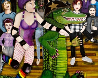 Rollergirls, Limited Edition 11 x 14 Print of the Original Roller Derby Painting