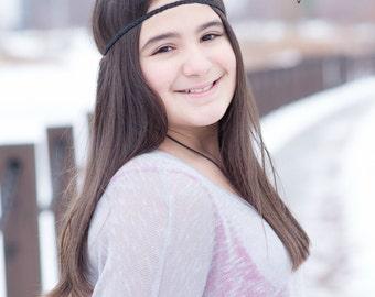 Black Forehead Headband - Boho Headband - Bohemian Headband - Boho - Bohemian - Hippie Headband - Gypsy Headband - Black Headband - Adult