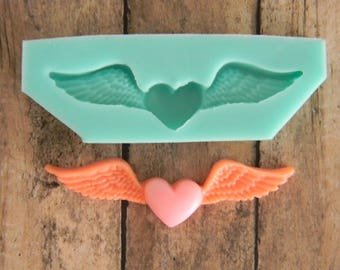 Silicone Flexible Mold - Heart With Wings
