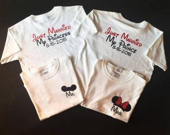Bride and Groom Shirts, Disney Bride & Groom Shirts, Disney Anniversary, Just Married Shirts, Disney Shirts, Disney Honeymoon,  JM6723