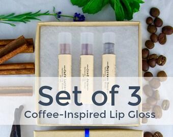 Coffee Tinted Lip Balm Set / 3 Organic Lip Glosses / Brown Lip Tint / Natural Makeup / Organic Lip Balm / Natural Lip Gloss / Coffee Gifts