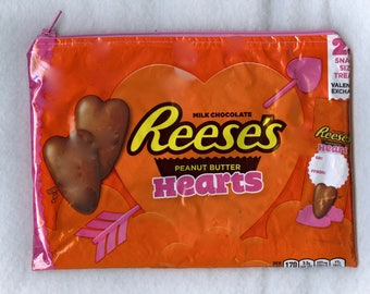 Reese's Valentine Hearts Peanut Butter Candy Wrapper Up-cycled Zippered Bag/Pouch