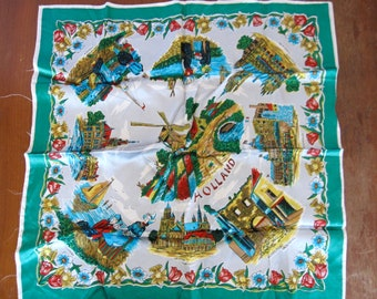 Vintage Souvenir Scarf from Holland, 1950s 1960s scarf, windmill print, jewel colors, vintage tourist gift Amsterdam