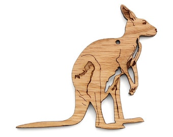 Kangaroo Ornament - Timber Green Woods. Sustainable Harvest Wood. Made in the USA!