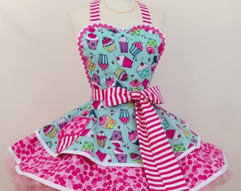 Retro Apron - Strawberry Cupcake Apron, Pinup Apron, Bakers Apron, Woman's Apron, Kitchen Apron, Birthday Party Apron